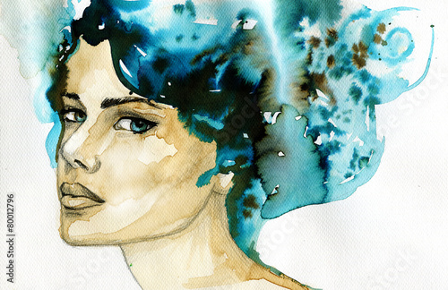 Photo sur Aluminium Inspiration painterly abstract watercolor illustration depicting a portrait of a woman