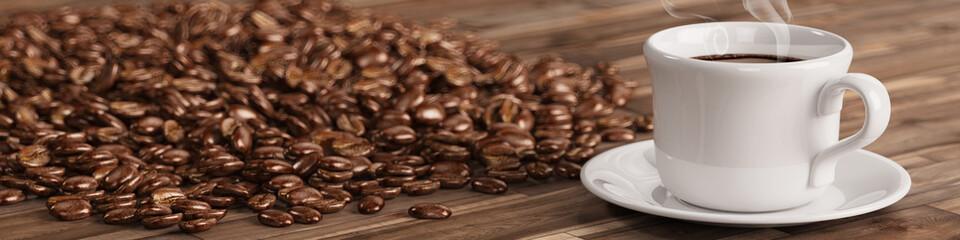 Fototapeta Frische Tasse Kaffee mit vielen Kaffeebohnen