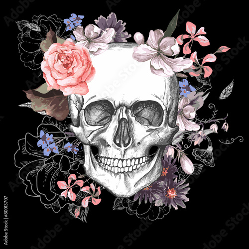 Poster Crâne aquarelle Skull and Flowers Day of The Dead