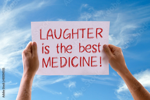 Fototapeta Laughter Is The Best Medicine card with sky background