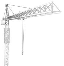 Tower Construction Crane. Vector Rendering Of 3d