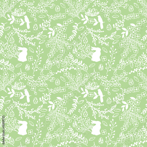 Cotton fabric Vector Seamless Tileable Easter Background Pattern with Flowers