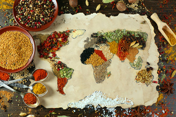 Fototapeta Przyprawy Map of world made from different kinds of spices