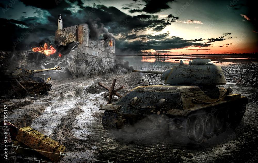 Fototapeta Tank attack captured area