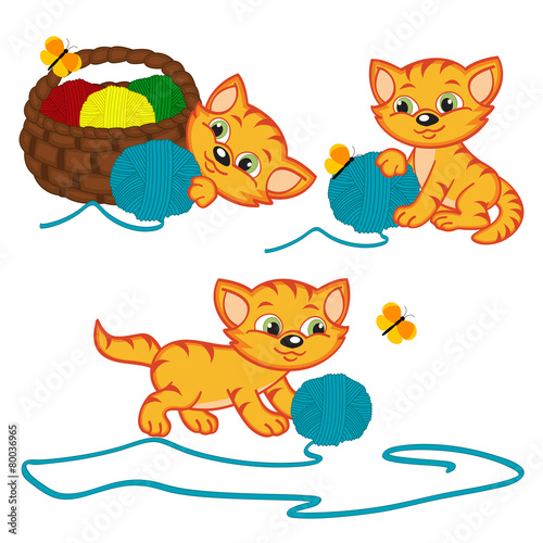 Cadres-photo bureau Chats kitten playing with balls of yarn - vector illustration,eps