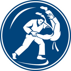 Fototapeta Sztuki walki Judo Combatants Throw Circle Icon