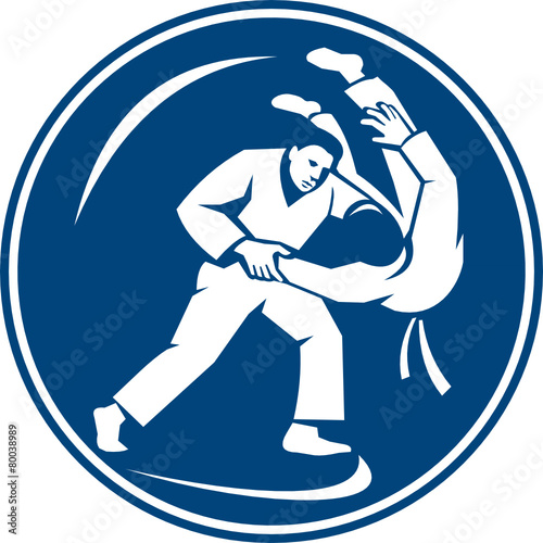 Judo Combatants Throw Circle Icon - 80038989