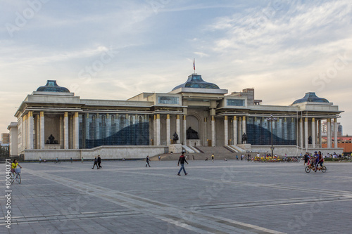Photo  Government Palace with Genghis Khan statue
