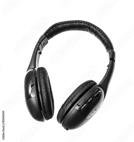 Fotografia  Black Headphones Isolated