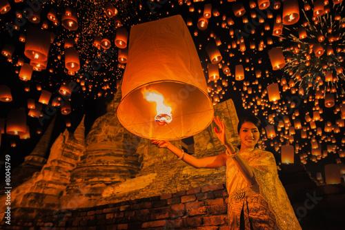 Poster Bangkok Thai people floating lamp in Ayuthaya historical park