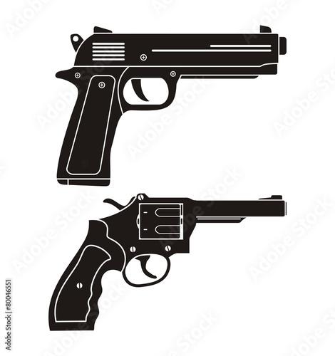 Fotografia handgun, revolver silhouette