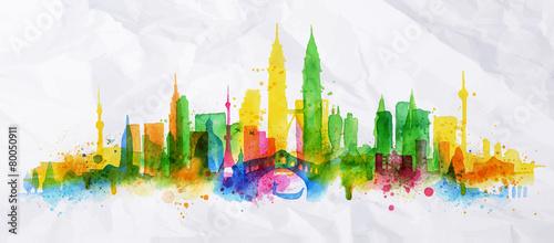 Photo  Silhouette overlay city Kuala Lumpur