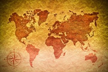 Fototapetavintage paper  with world map