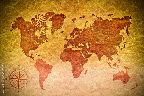 Photo  vintage paper  with world map