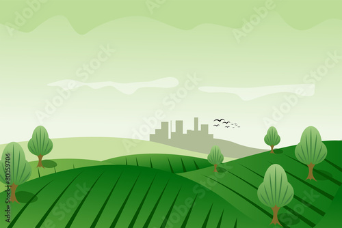 Green meadow landscape background
