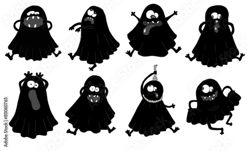Set with black silhouettes of funny ghosts Canvas Print