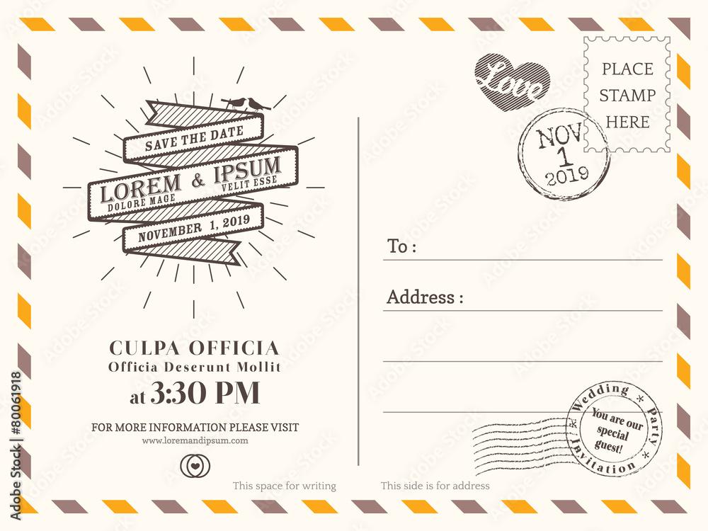 Fototapeta Vintage postcard background template for wedding invite card
