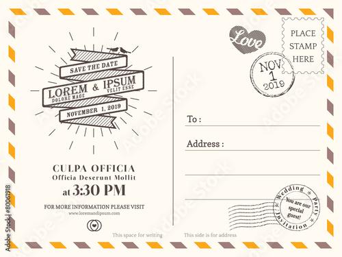 Fotografia  Vintage postcard background template for wedding invite card