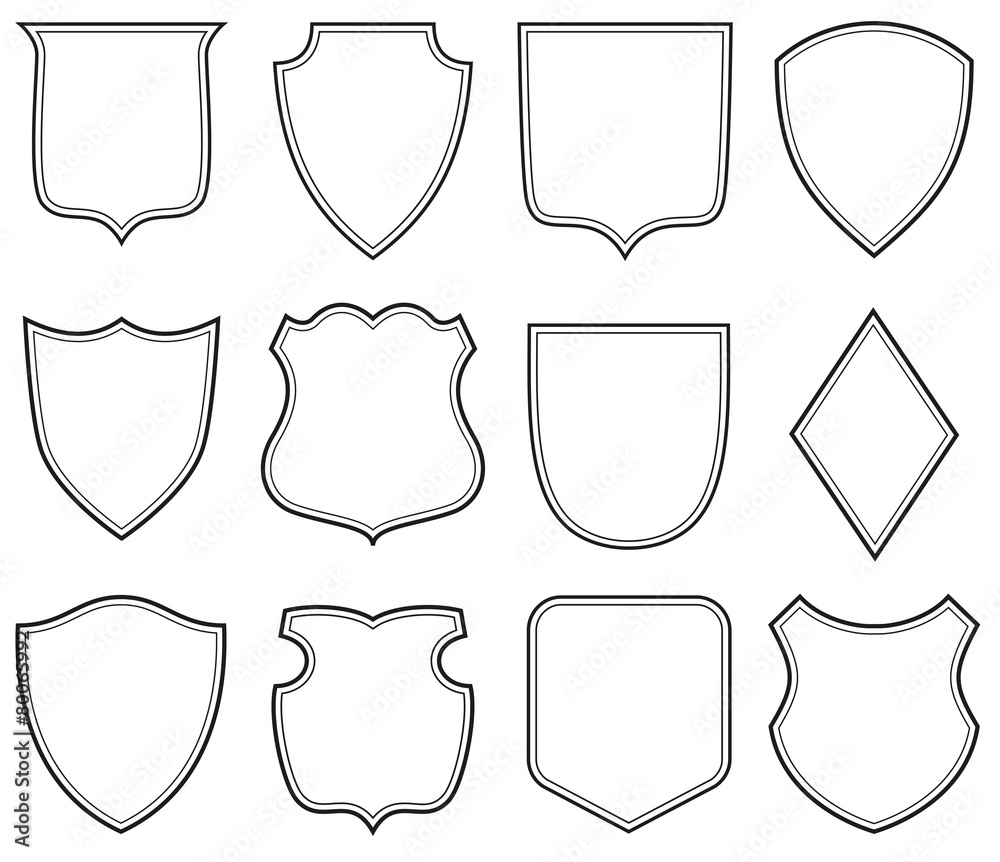 Fototapeta Collection of heraldic shield shapes