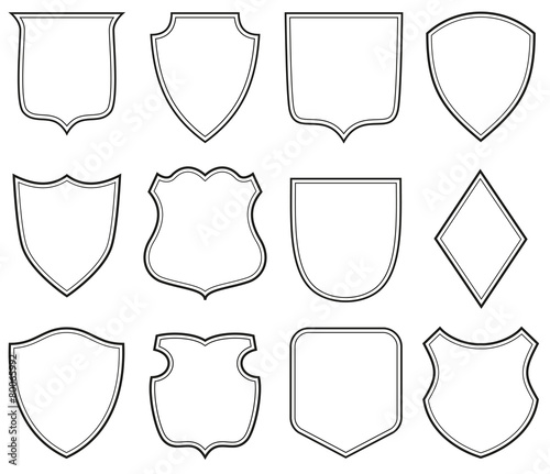 Obraz na plátně Collection of heraldic shield shapes