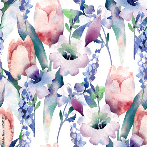 Cotton fabric Spring Bouquet Seamless Pattern