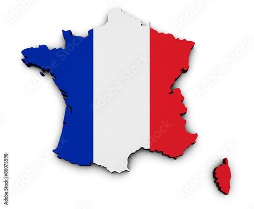 Obraz na plátně  France Carte Flag Map