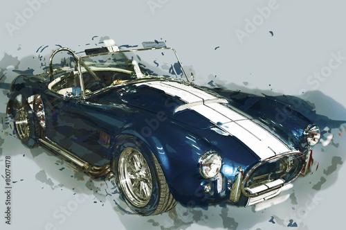 Vintage sport samochodowy rysowane ilustracji