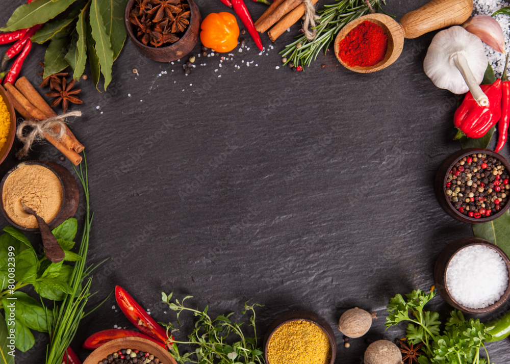 Fototapety, obrazy: Various spices on black stone