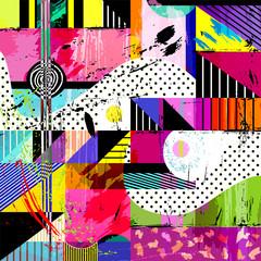 Fototapeta Wieloczęściowe abstract background, with strokes, splashes and geometric lines