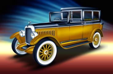 Fototapetaschwarzer - gelber Oltimer, PKW, Limousine Taxi, Taxe