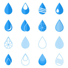 Water Drops Blue Flat Icons Set