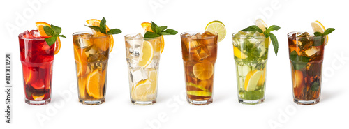 Fotografie, Obraz  Glasses of fruit drinks with ice cubes