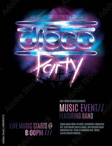 Shiny Retro 80s Party Or Disco Invitation Template Kaufen