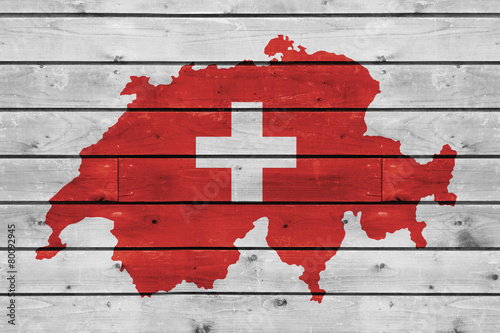 Obraz na plátně switzerland map on wood texture background