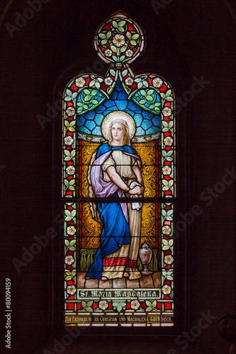 Stained Glass Window of biblical figure Mary Magdalene Fototapeta