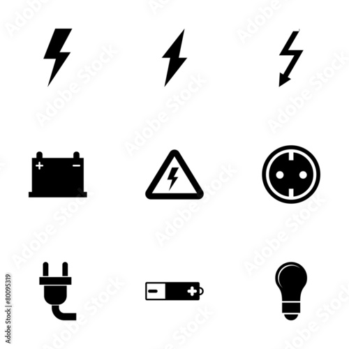 Carta da parati Vector black electricity icon set