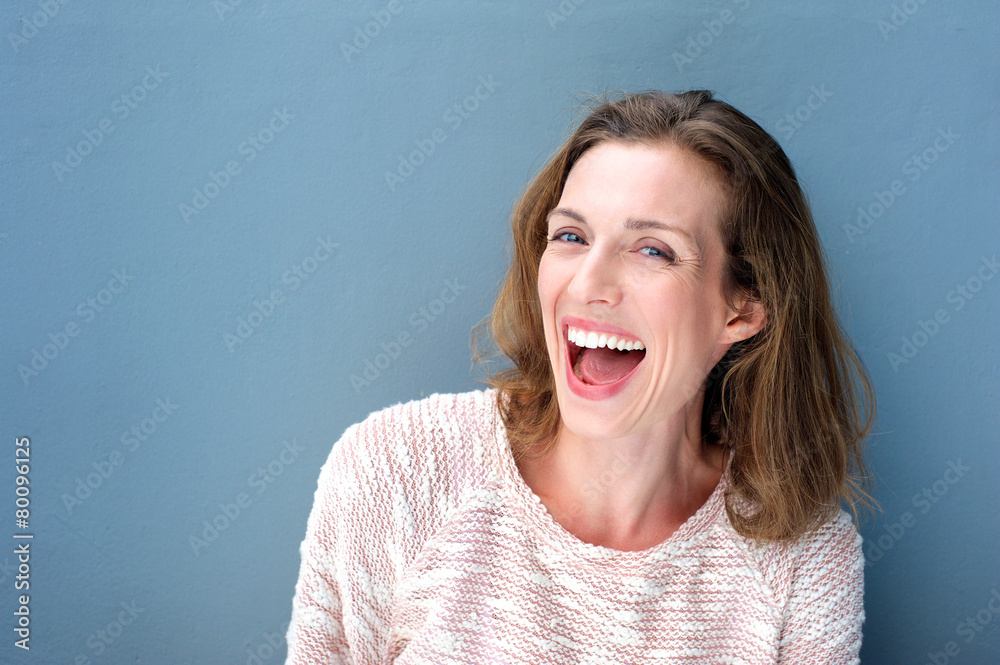 Fototapety, obrazy: Happy beautiful fresh mid adult woman laughing