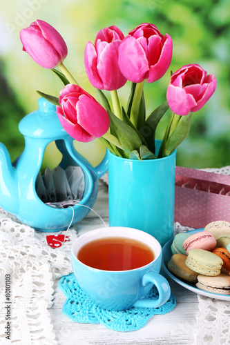 Wall Murals Tulip Composition of spring flowers, tea and cookies