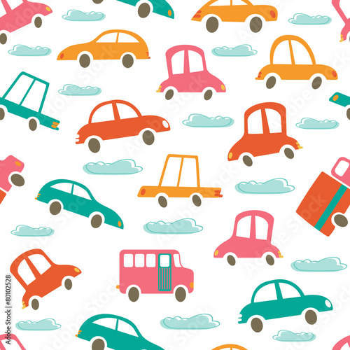 Foto op Aluminium Cartoon cars Colorful seamless pattern with cute cars and clouds