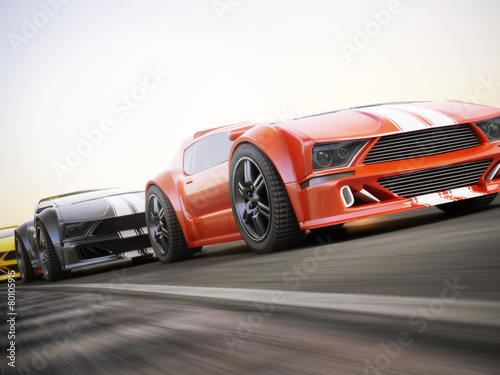 Plakat  The race , Exotic sports cars racing with motion blur