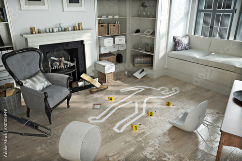 Photo Home invasion , crime scene in a wrecked furnished home.