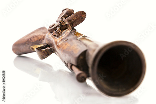 Antique flintlock blunderbuss pistol detail, on white Canvas Print