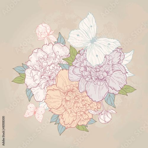 Blumenstrauß voller Pfingstrosen