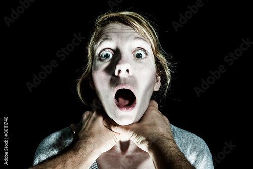 Fototapeta  Woman Victim Being Strangle by her Boyfriend