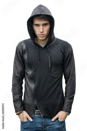 Handsome young man in black hoodie sweater isolated on white