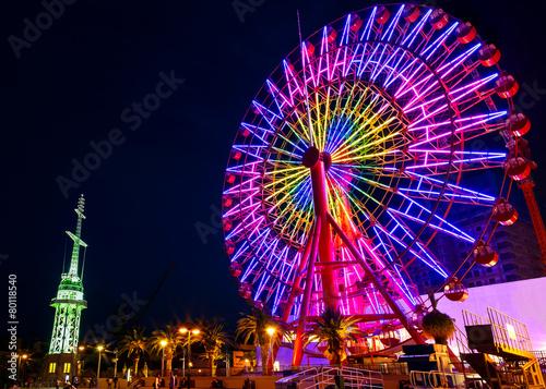 Keuken foto achterwand Carnaval Ferris Wheel at Kobe Port