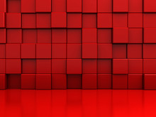 Red Abstract Blocks Wall Backg...