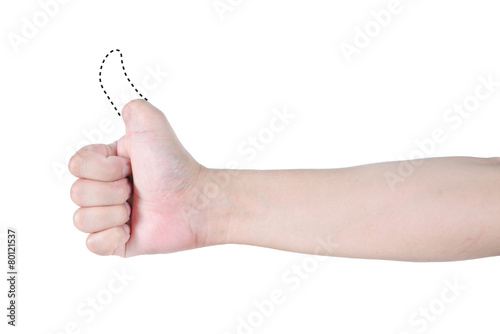 Fotografia, Obraz  thump up disabled hand with dash line isolated on white backgrou
