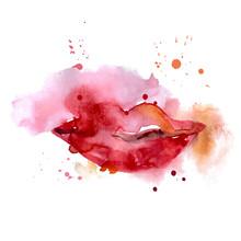 Lips, Watercolor Sketch.