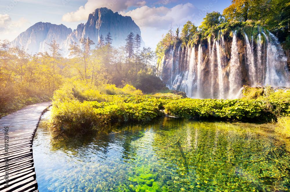 Fototapety, obrazy: Wodospad z turkusową wodą